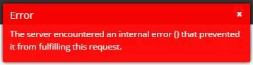 Error  The server encountered an internal error () that prevented it from fulfilling this request.