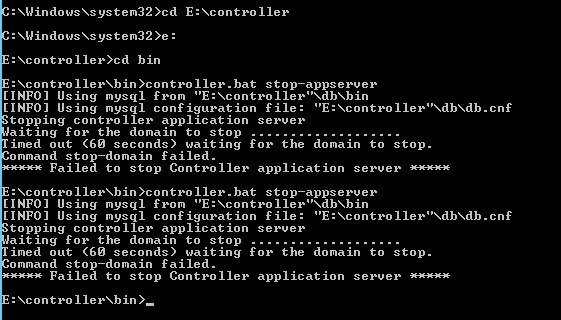 Failed to stop controller