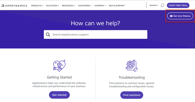 AppDynamics.com Support page