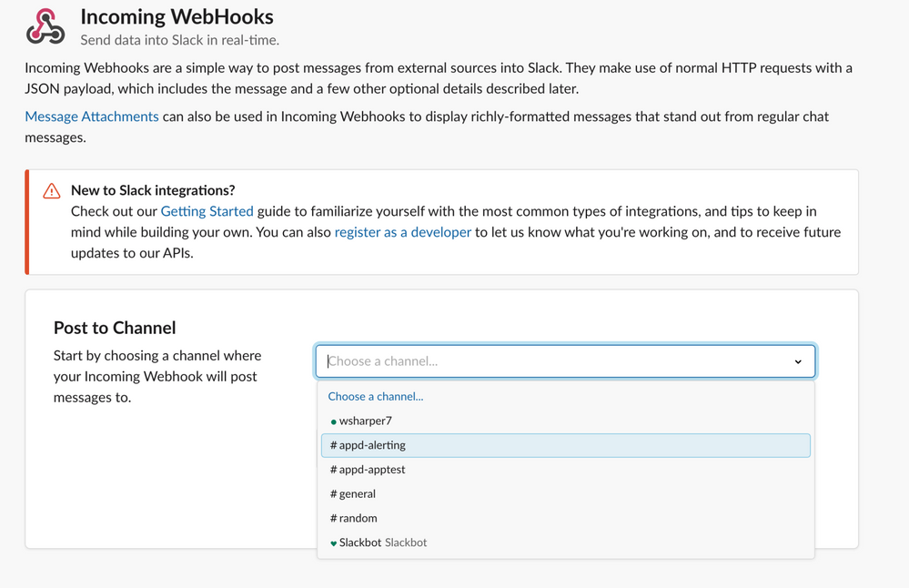 Start configuring the Webhooks app by choosing the Slack channel you want to post to