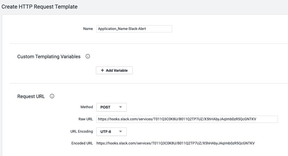 Create HTTP Request template Request URL settings