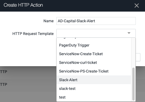 Choose the HTTP Request Template for this Action