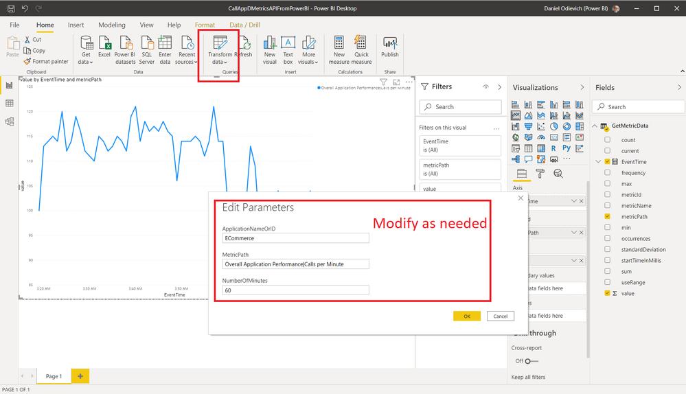 Power BI Visual Designer: Modify parameters as needed