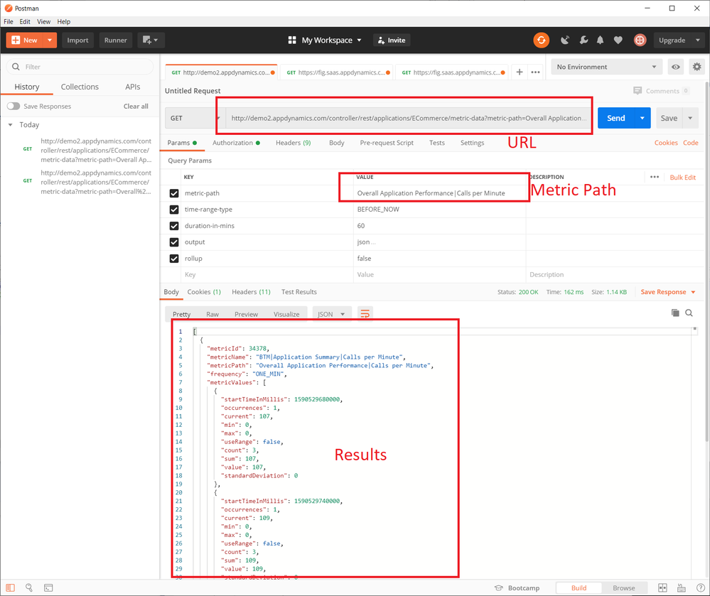 Query results in Postman