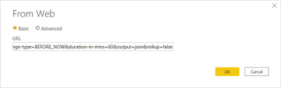 Paste the REST URL into the Basic option on the From Web dialog