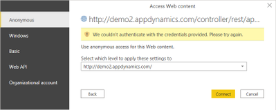 Access Web Content data source authentication settings