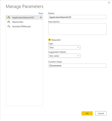 Manage Parameters dialog: Application Name