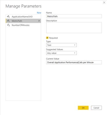Manage Parameters dialog: MetricPath