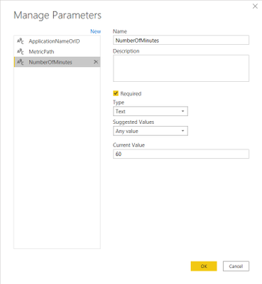 Manage Parameters dialog: Number of Minutes