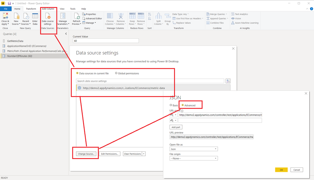 Data Source Dialog > Advanced Settings > Constructing REST URL from parameters
