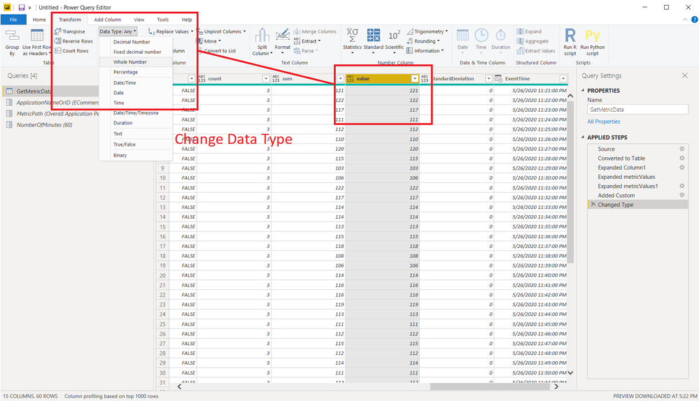 Change data type of the value column to number