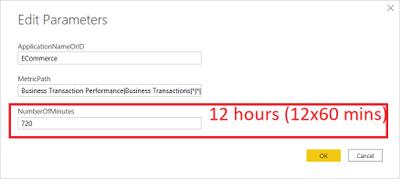 Edit Parameters - time range in minutes
