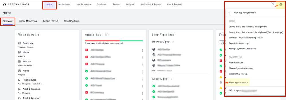 Home > Overview > Settings  > then click About AppDynamics