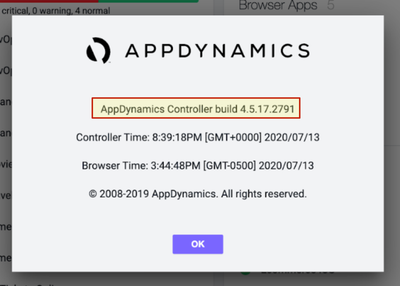 """""""About AppDynamics"""" dialog box, headed by the Controller version and build"""