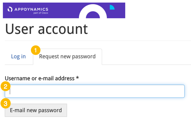 Click the Request new password tab, enter your e-mail address, and submit.
