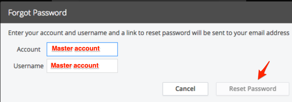 "Controller URL's ""Forgot Password"" dialog, where you enter your Master Account name in the Account and Username fields"