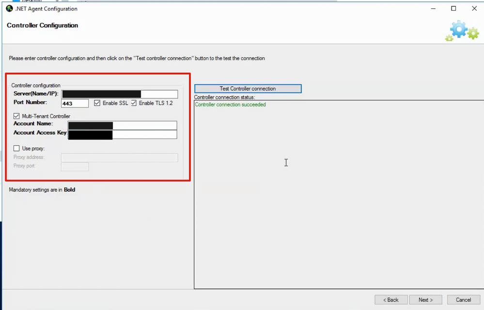 .NET Agent Configuration: Controller configuration credentials