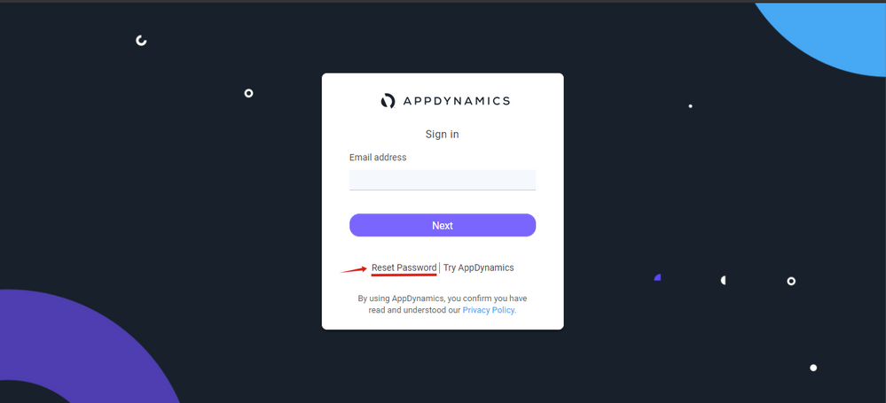 AppDynamics sign in page, with Reset Password link