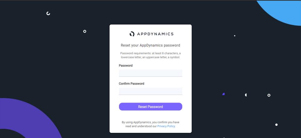AppDynamics password reset dialog