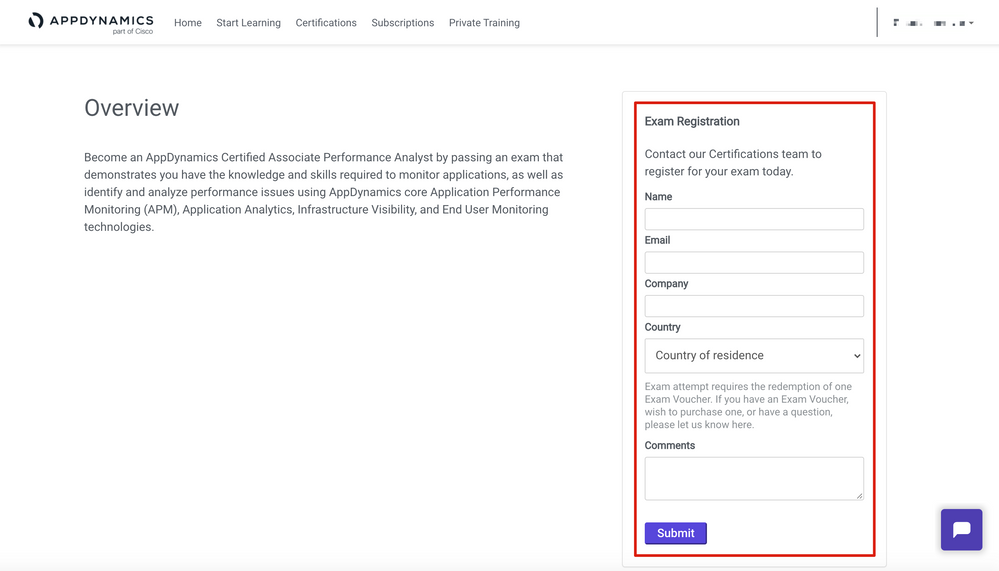 Example of the short examination registration form (AppDynamics Certified Performance Analyst)