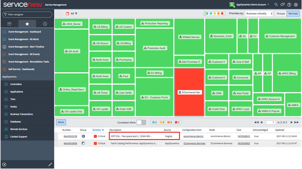 how do i use appdynamics with servicenow